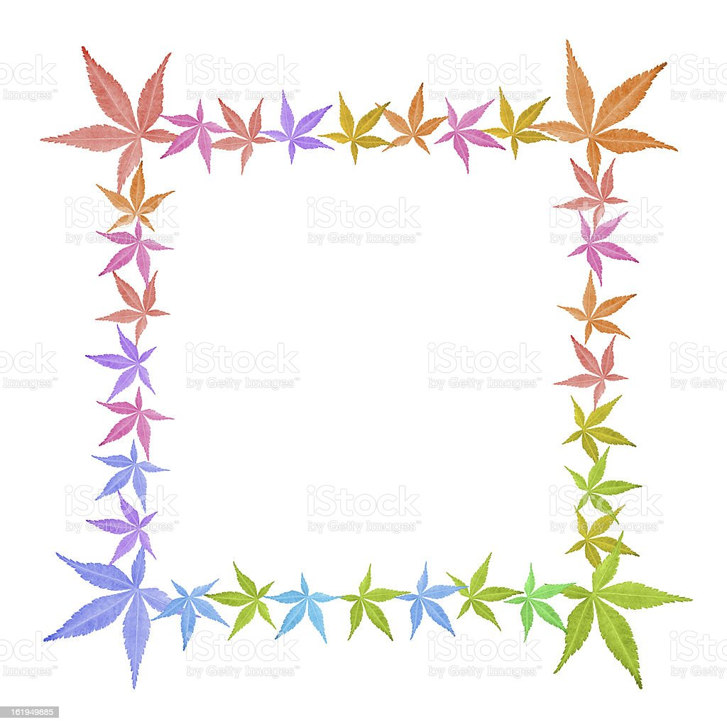Square frame of colorful leaves isolated on white royalty-free stock photo