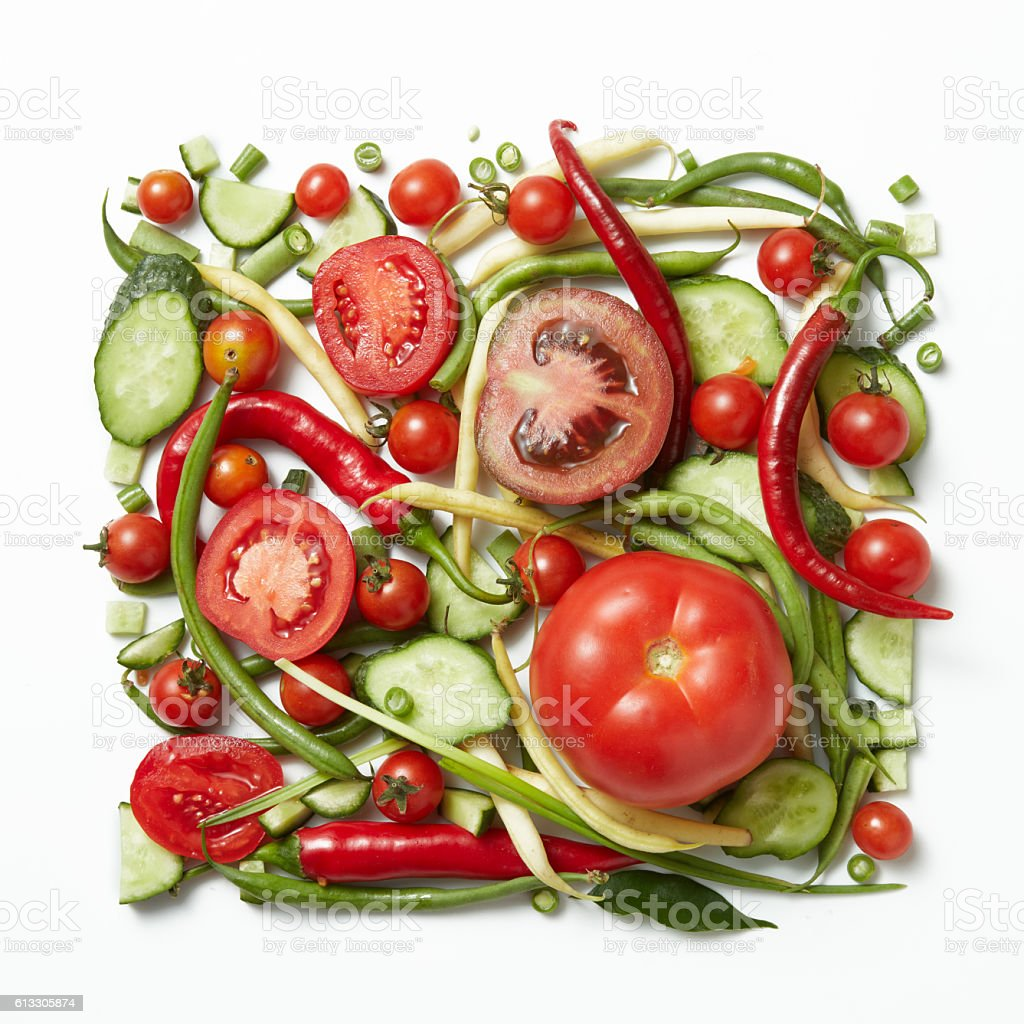 square frame of raw vegetables stock photo