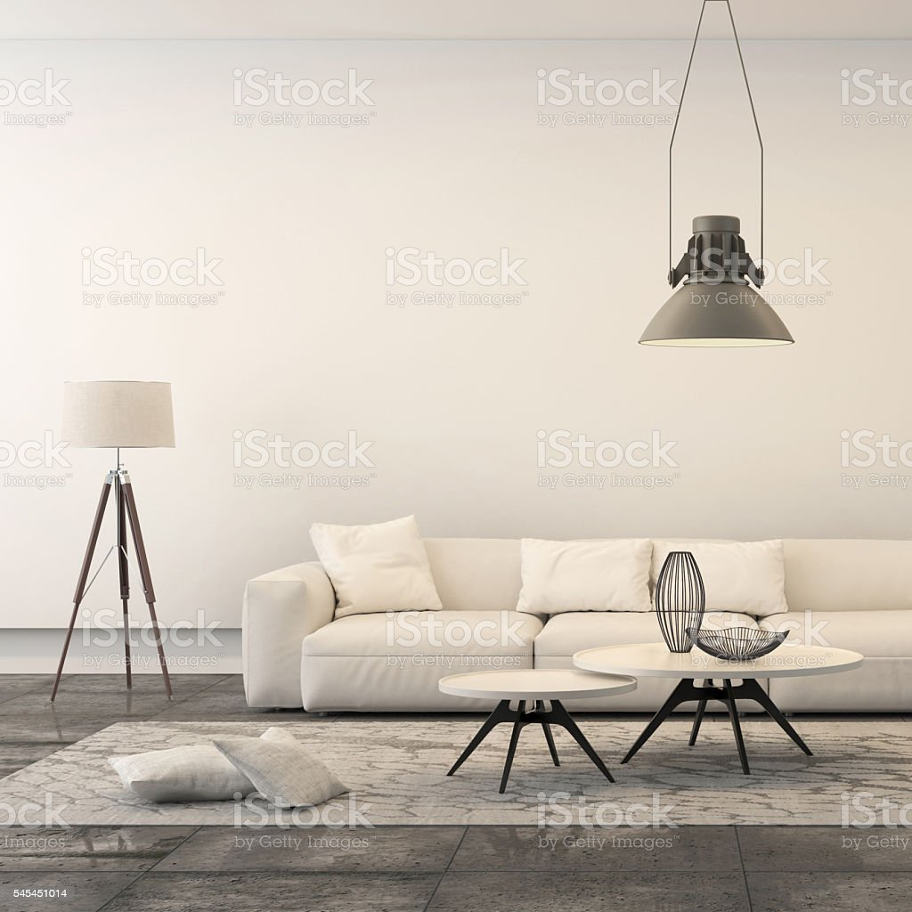 Square frame showing modern minimalist living room stock photo
