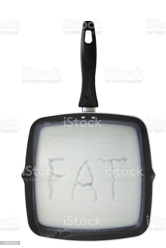 square frypan with greasy fat stock photo