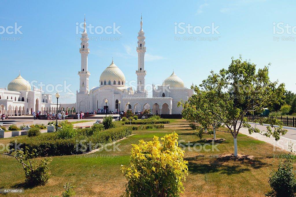Square garden before temple. White mosque, Bulgar, Russia stock photo