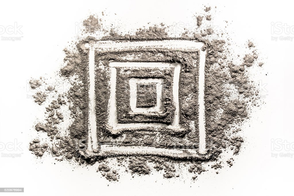 Square geometry shape drawing in dirt stock photo