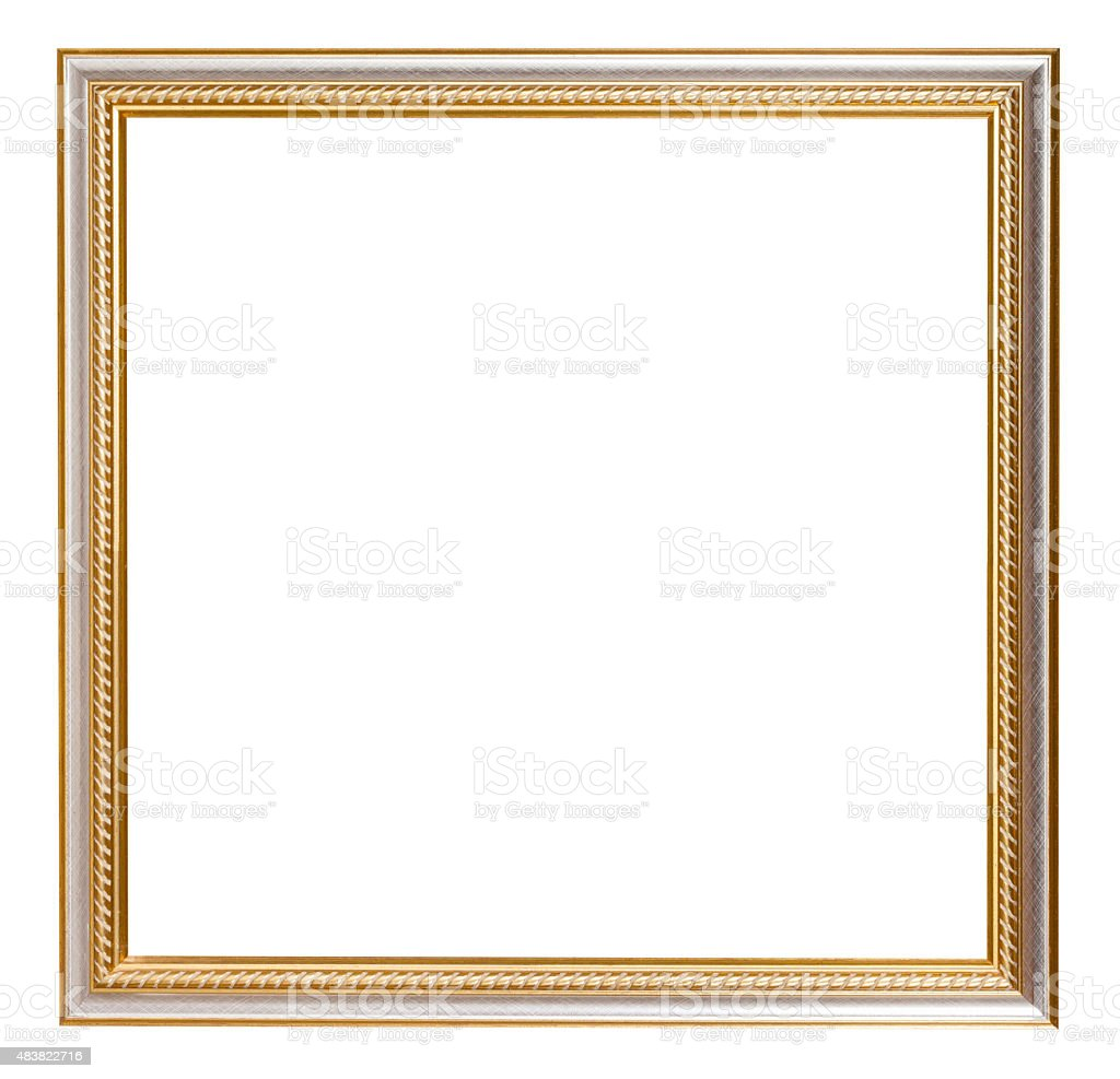 square golden carved wooden picture frame stock photo