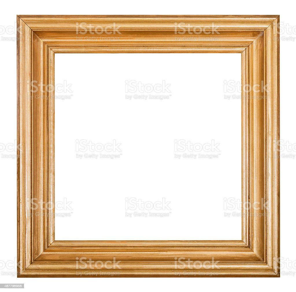 square golden lacquered wooden picture frame stock photo