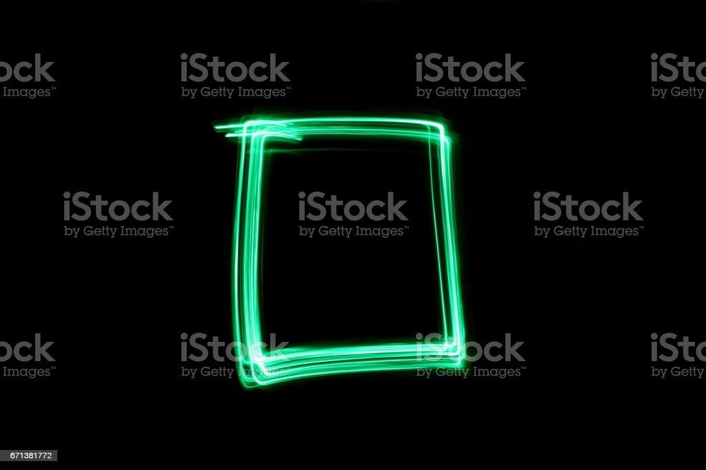 Square, Green Light Painting Photography stock photo