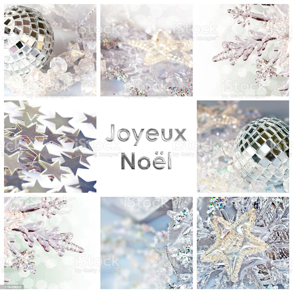 Square greeting card joyeux noel, meaning merry christmas in French stock photo