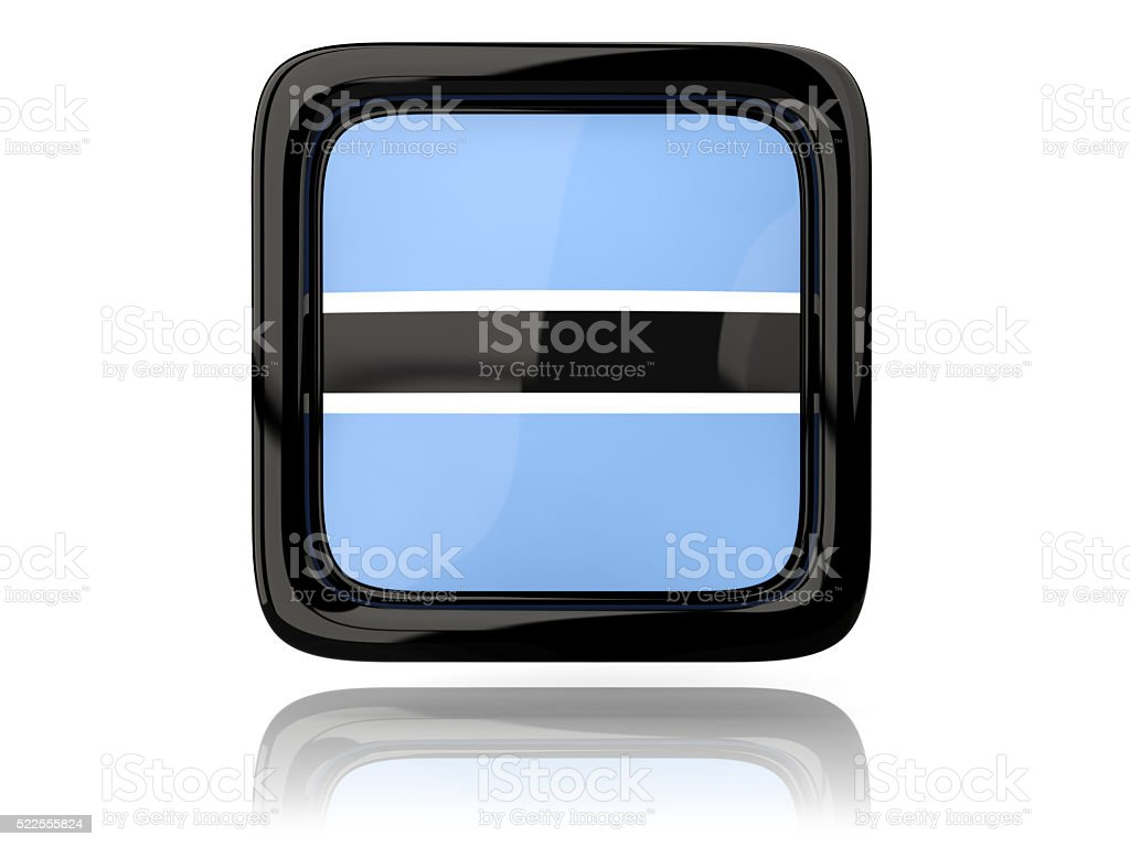 Square icon with flag of botswana stock photo