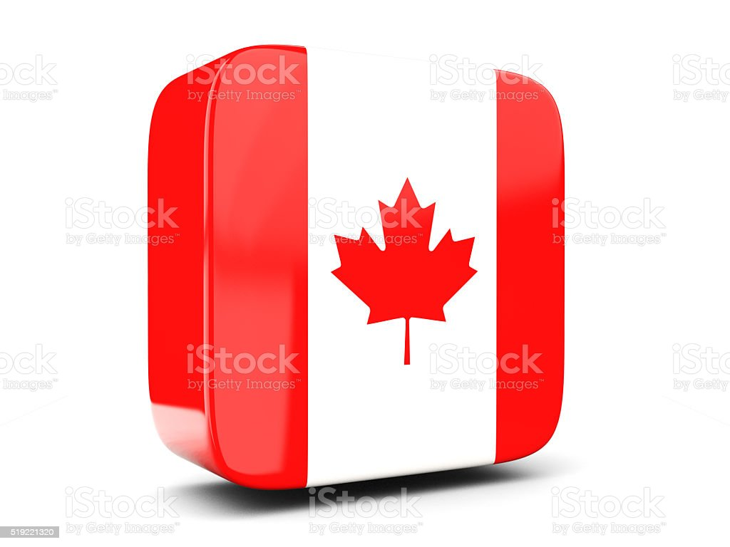 Square icon with flag of canada. 3D illustration stock photo