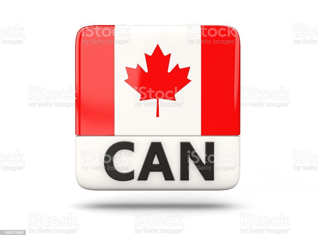 Square icon with flag of canada stock photo