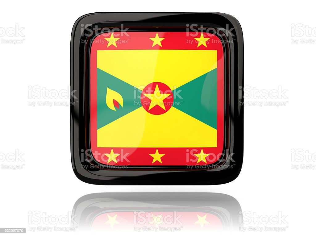 Square icon with flag of grenada stock photo