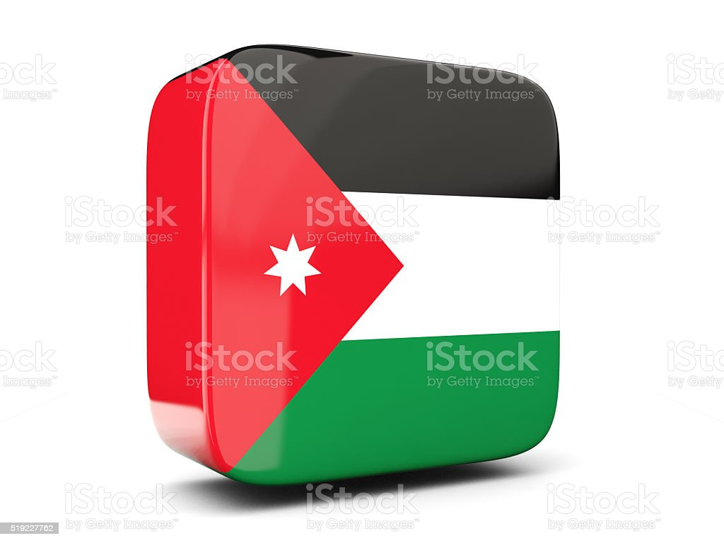 Square Icon With Flag Of Jordan 3d Illustration Stock Photo