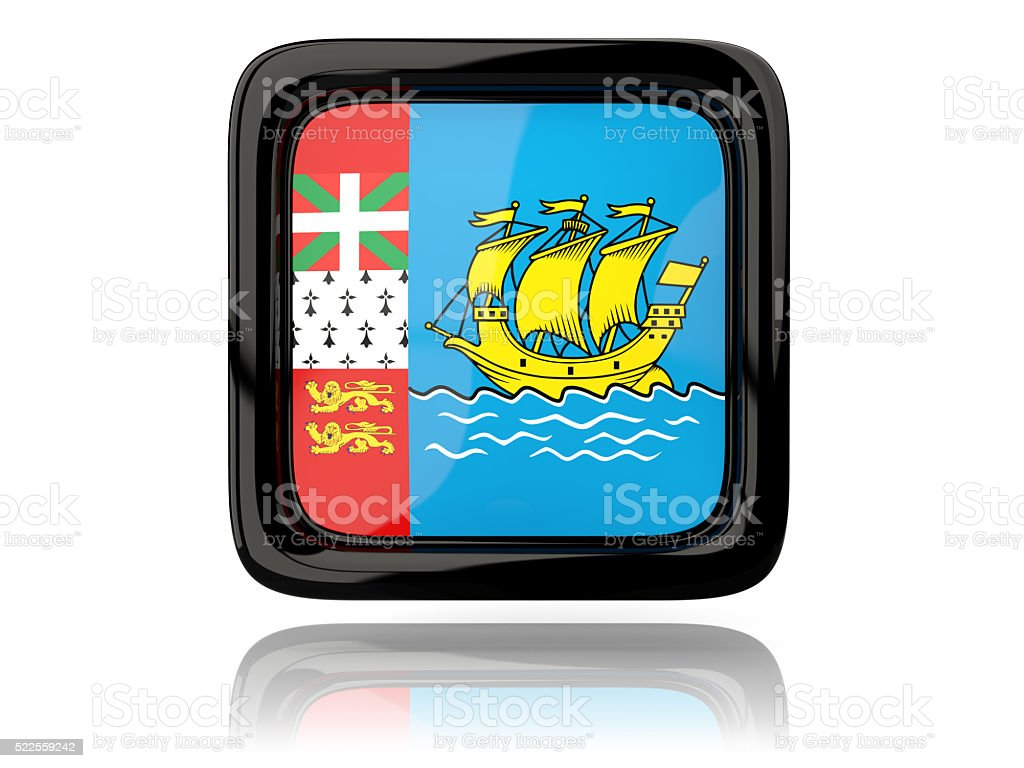 Square icon with flag of saint pierre and miquelon stock photo