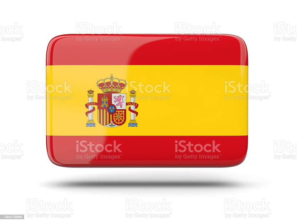 Square icon with flag of spain stock photo