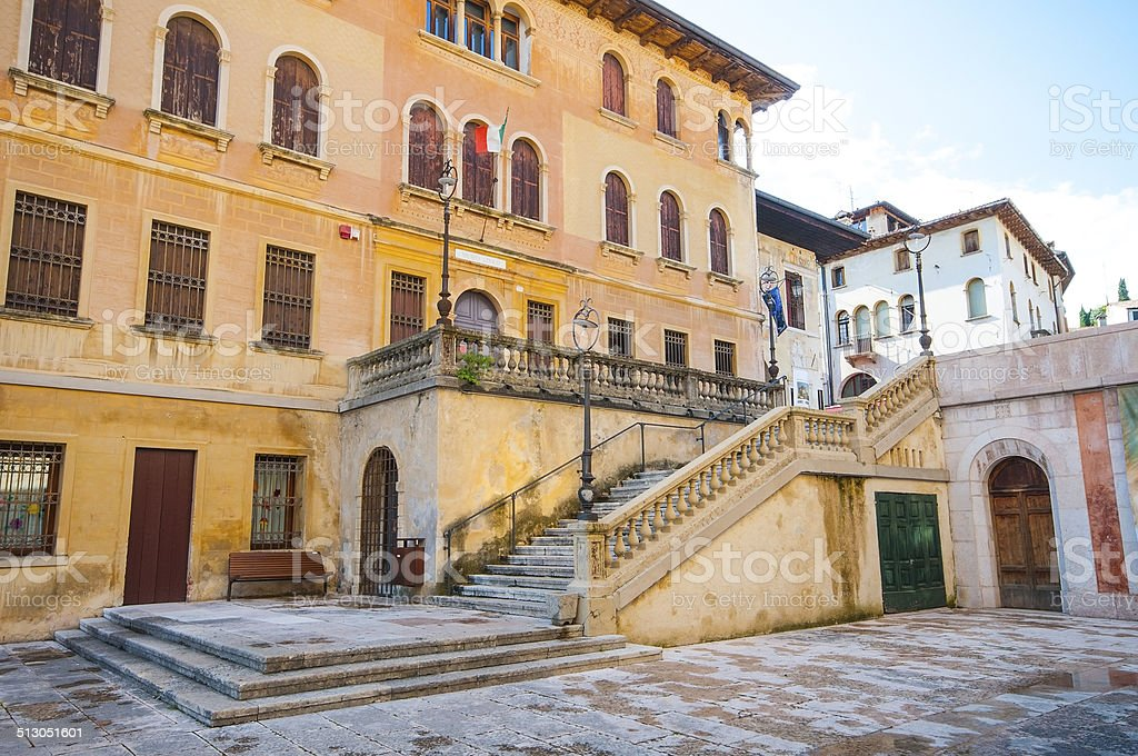 Square in Asolo, typical village near Venice stock photo