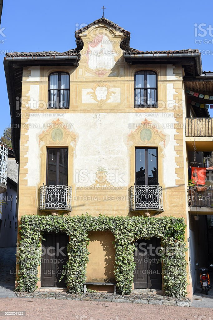 Square in Carona, a municipality in the district of Lugano stock photo