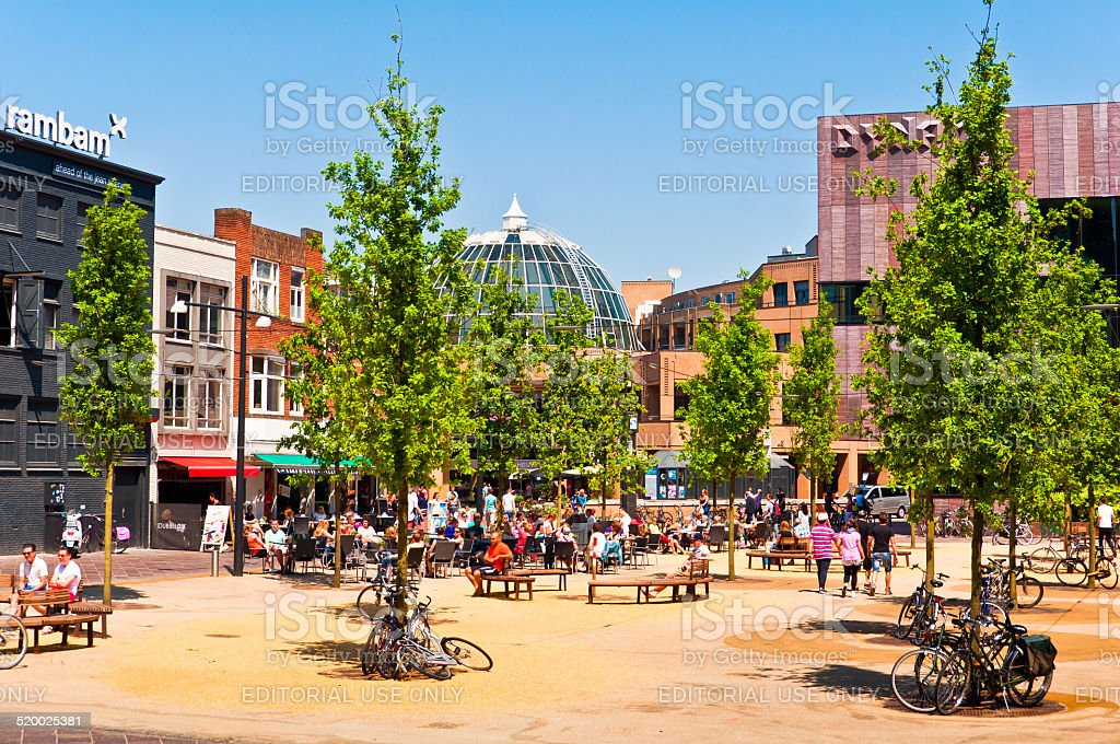 Square in Eindhoven City stock photo
