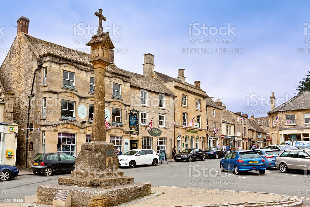 Square in Historic Center in Stow-on-the-Wold, Cotswold, England, United Kingdom. stock photo