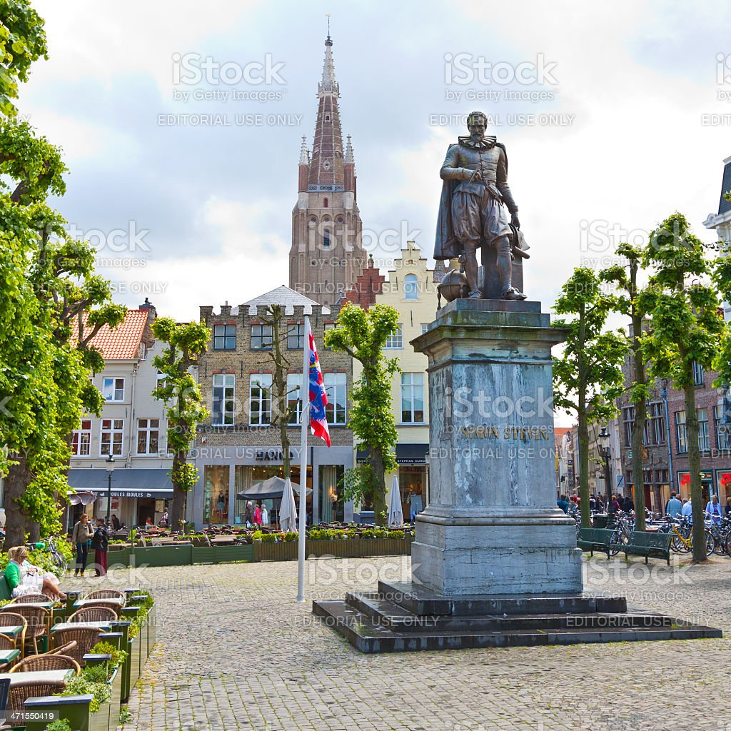 Square in historic part of Bruges. royalty-free stock photo