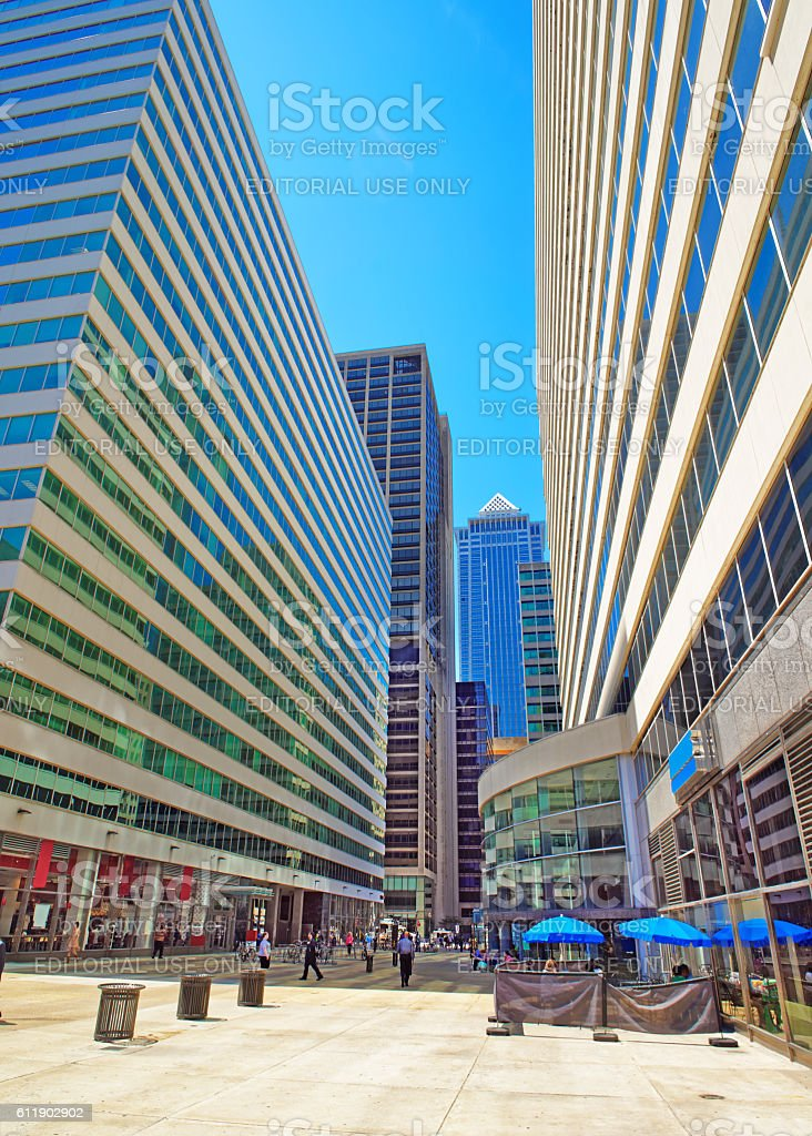Square in Penn Center and skyline in Philadelphia PA stock photo