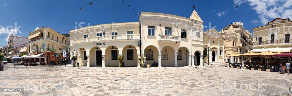 square in Zakinthos town on the island Zakynthos, Greece. stock photo