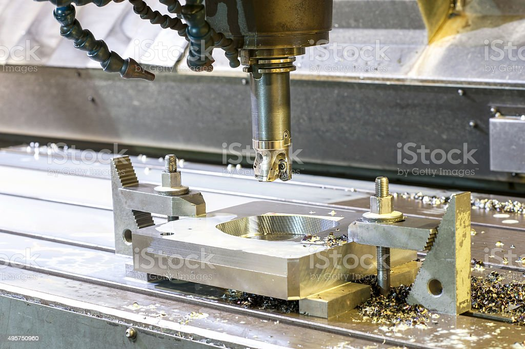 Square industrial metal mold/blank milling. CNC technology. stock photo