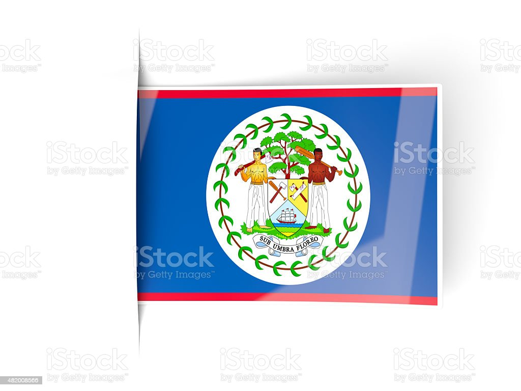 Square label with flag of belize stock photo