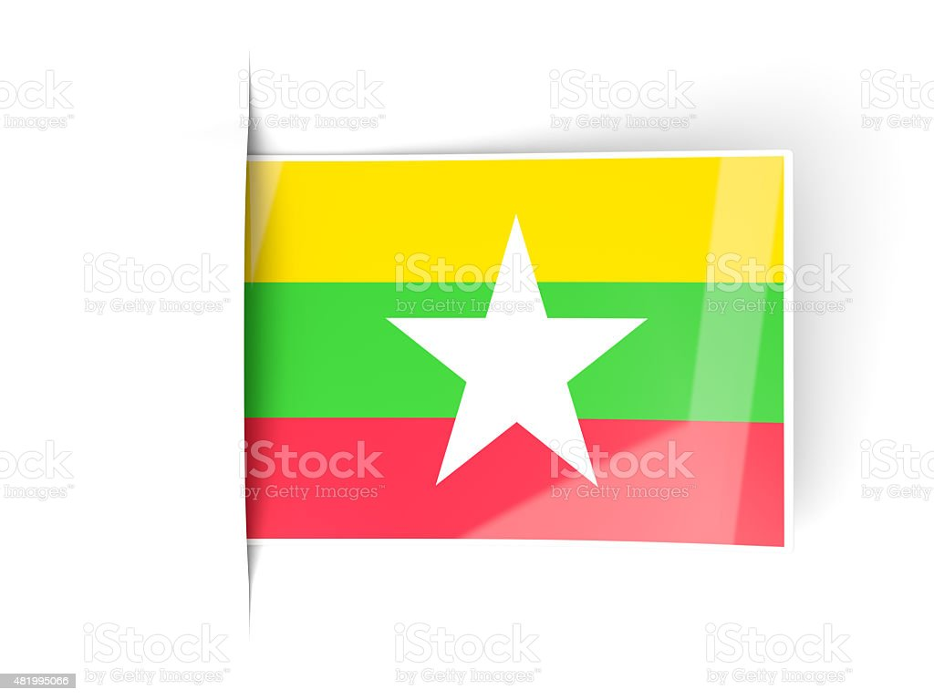 Square label with flag of myanmar stock photo