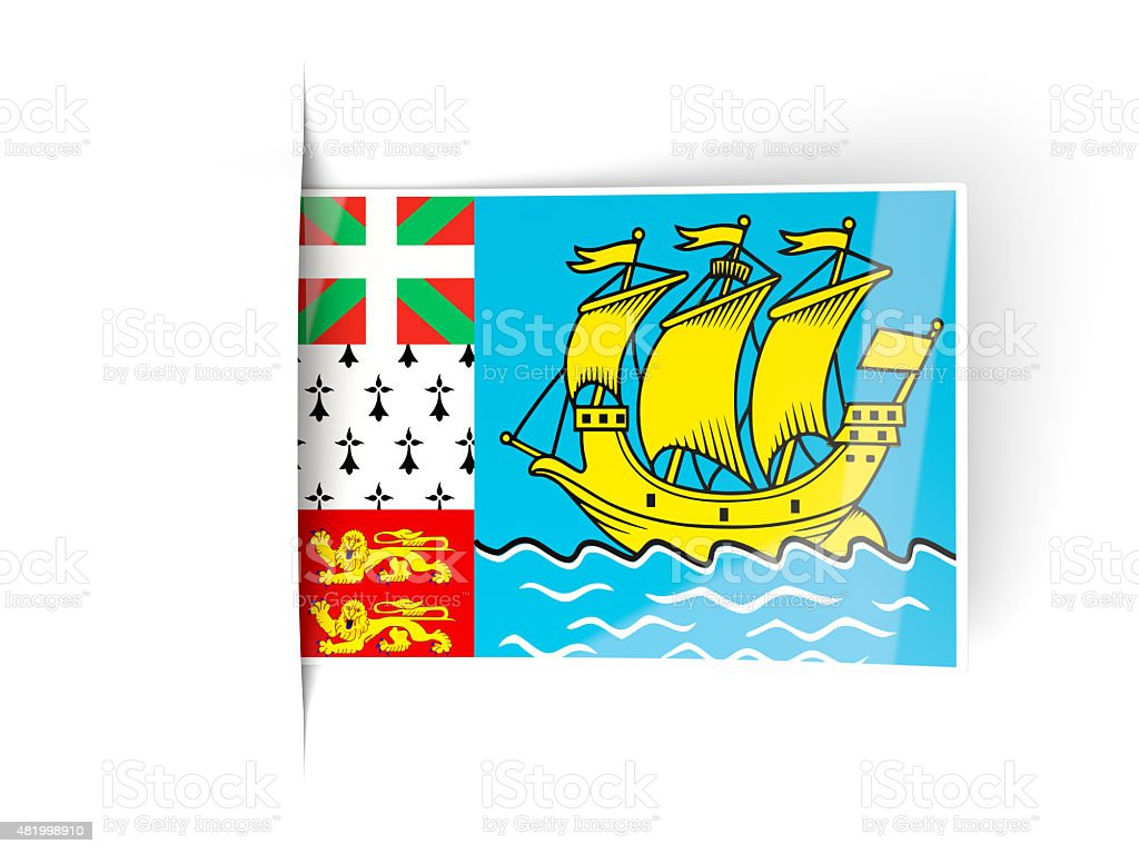 Square label with flag of saint pierre and miquelon stock photo