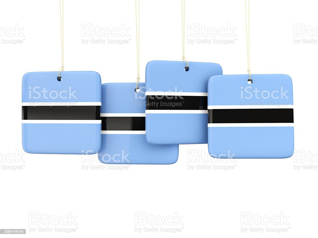 Square labels with flag of botswana stock photo