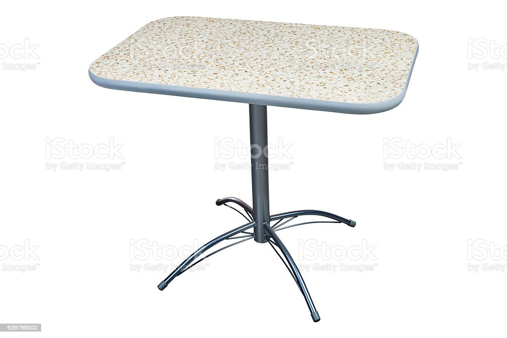 Square Laminate Height Pedestal Table with artificial stone Top. stock photo