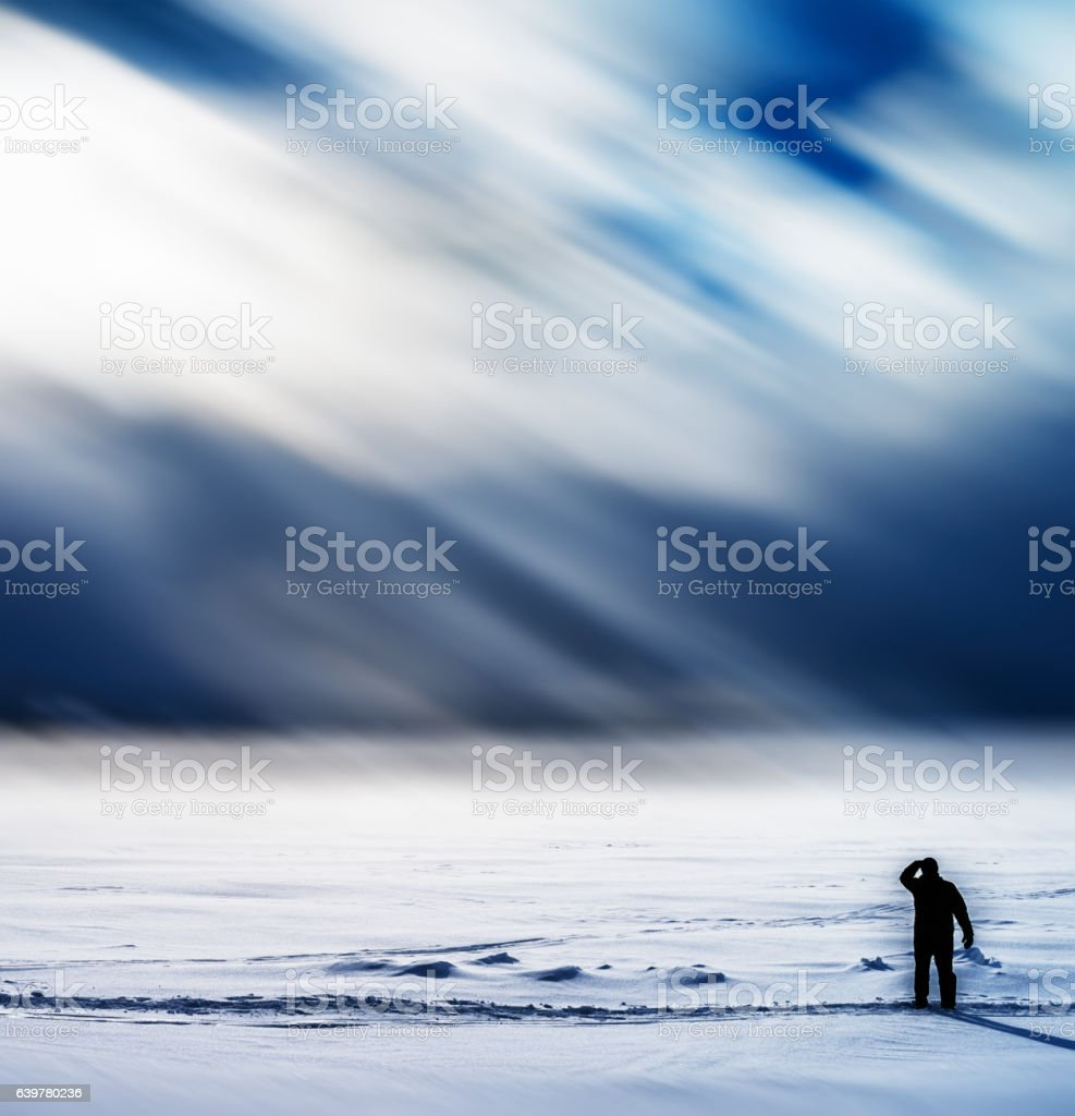 Square man meeting dramatic snow storm background backdrop stock photo