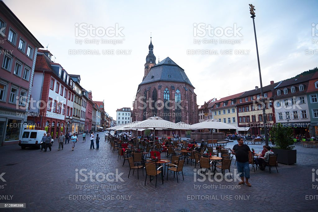 Square Markt and Heiligeistkirche in summer sunset stock photo