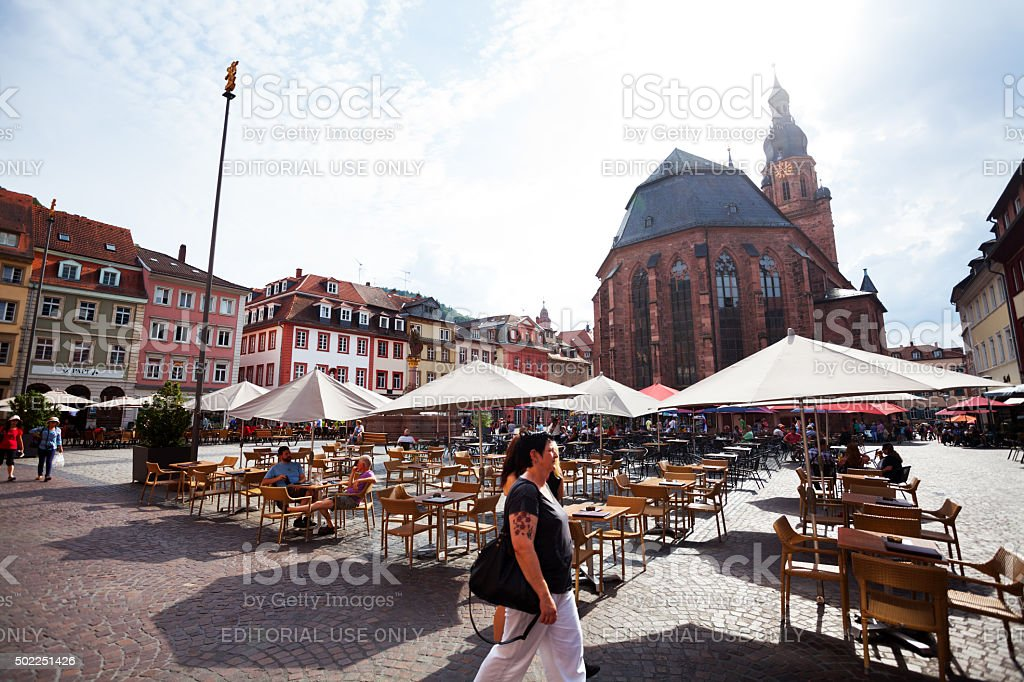 Square Markt in Heidelberg at summer afternoon stock photo