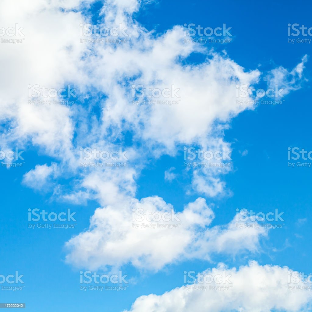 Square nature background photo, white clouds stock photo