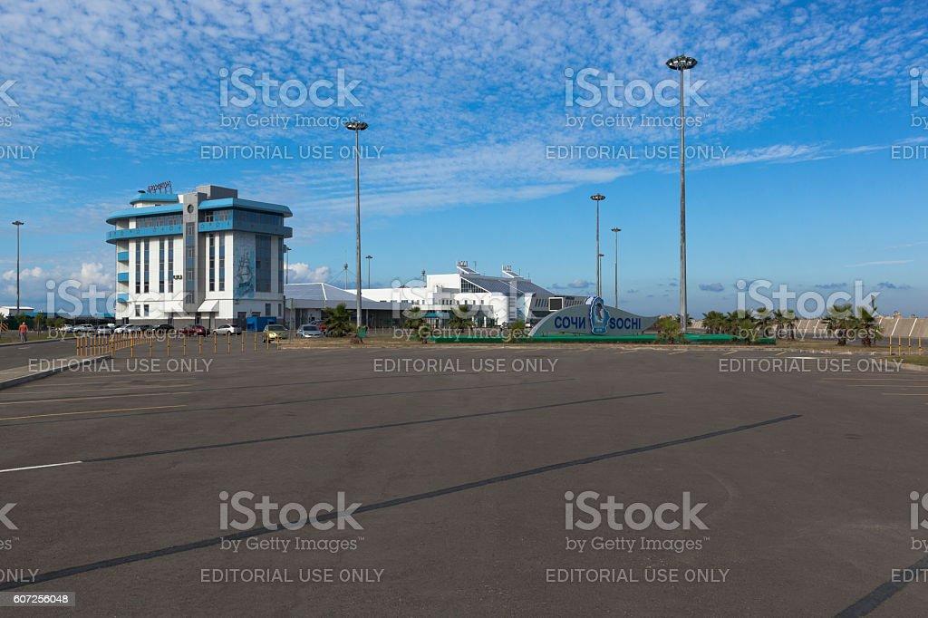 Square near administrative building of the seaport in Sochi stock photo