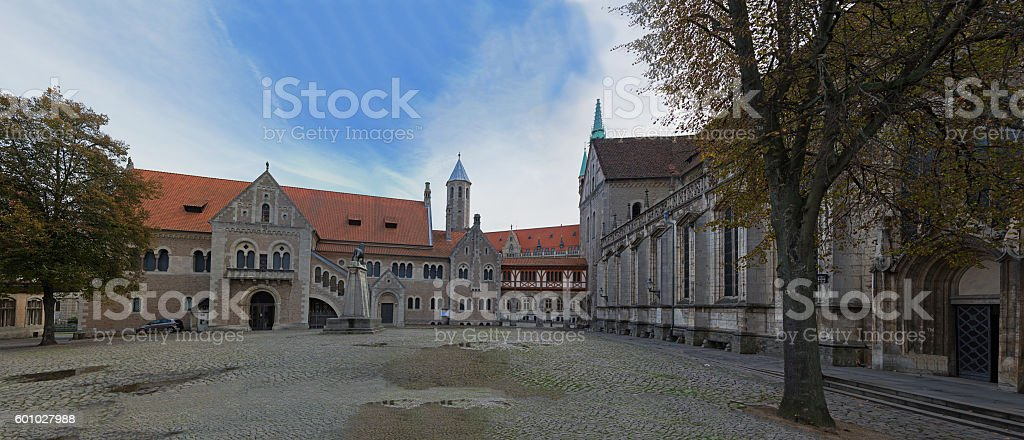 Square near Braunschweig cathedral stock photo