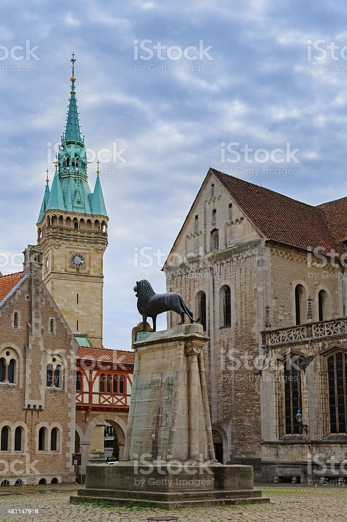 Square near Braunschweig cathedral with lion statue stock photo