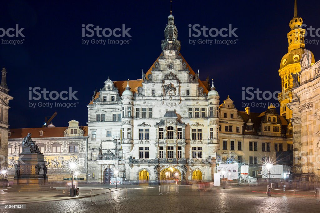 Square near Cathedral of the Holy Trinity in Dresden stock photo