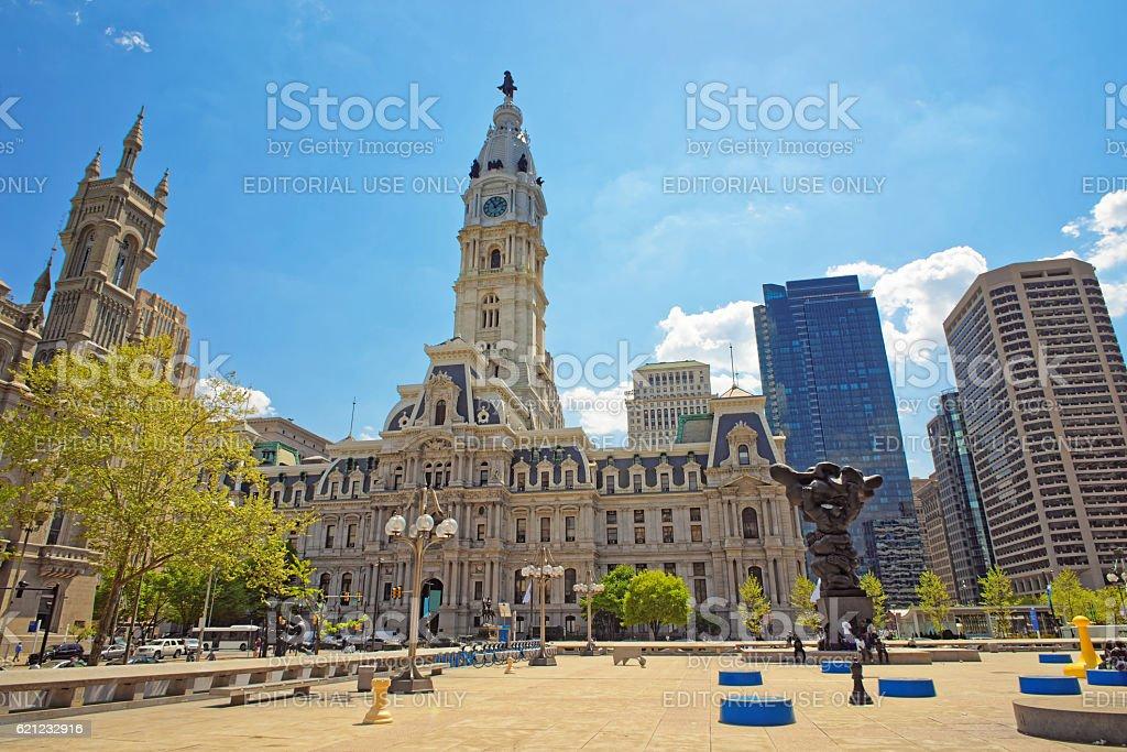 Square near Philadelphia City Hall with sculptures stock photo
