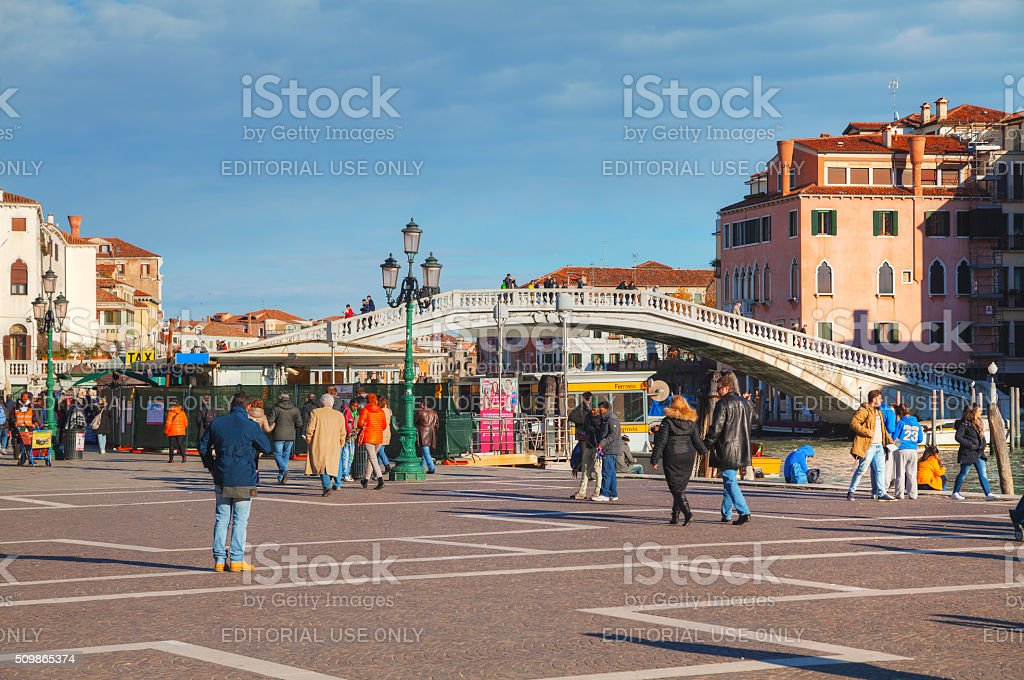 Square near the train staition in Venice, Italy stock photo