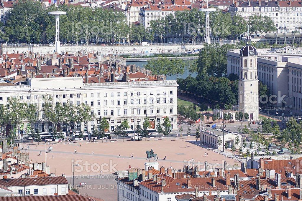 Square of Bellecour in Lyon stock photo