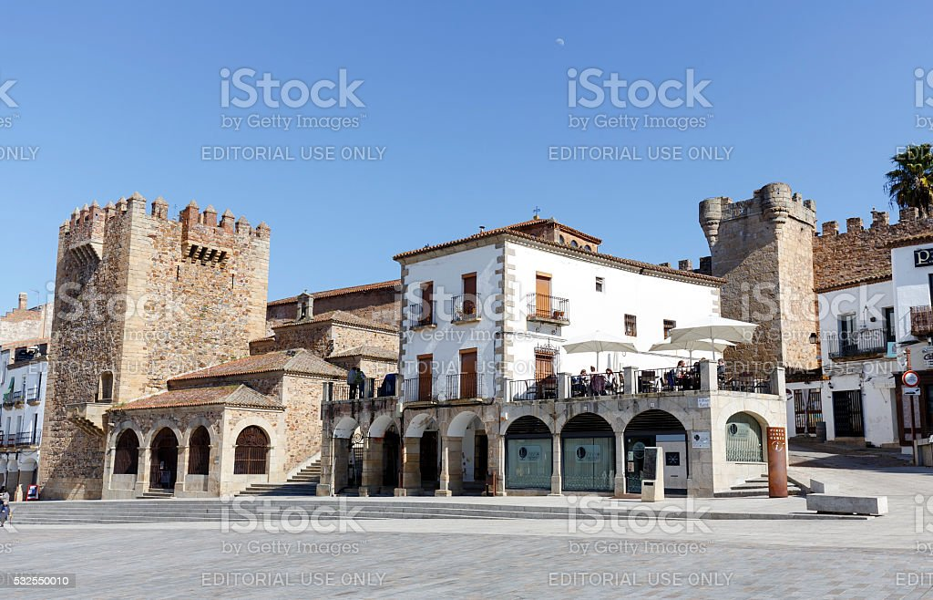 Square of Caceres Extremadura Spain stock photo