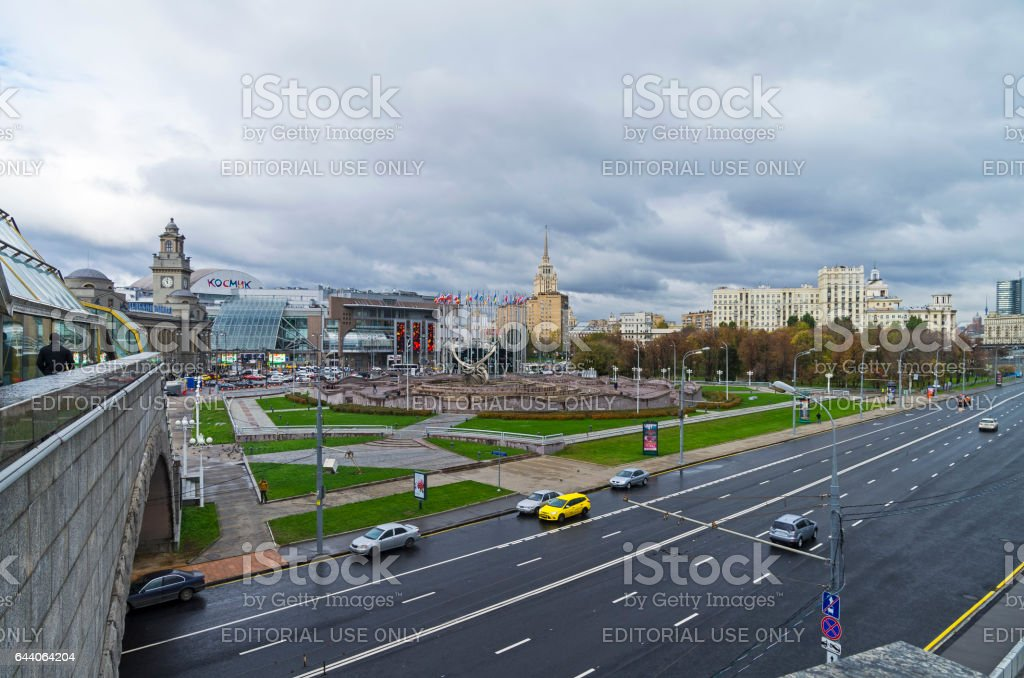 Square of Europe  and Kiyevsky railway terminal. Moscow, Russia. stock photo