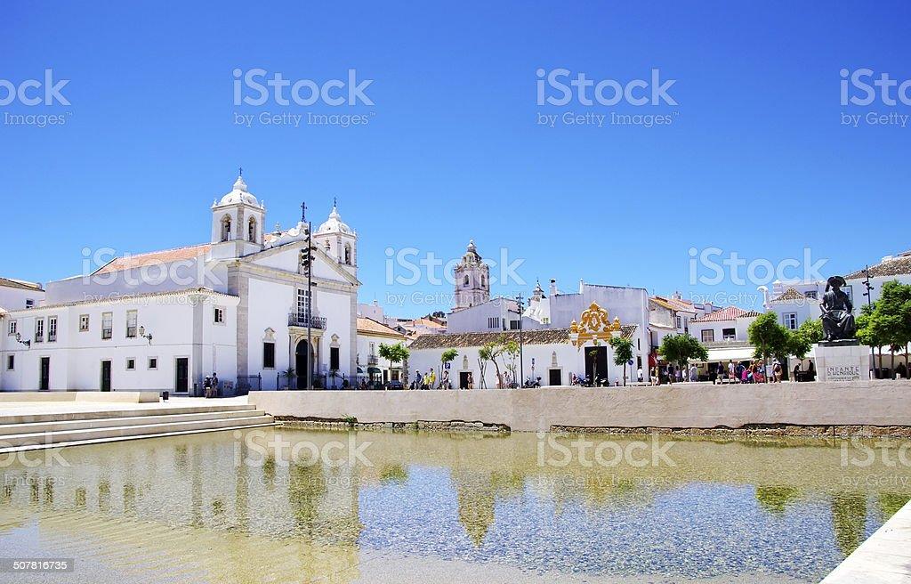 Square of Lagos city in Algarve, Portugal stock photo