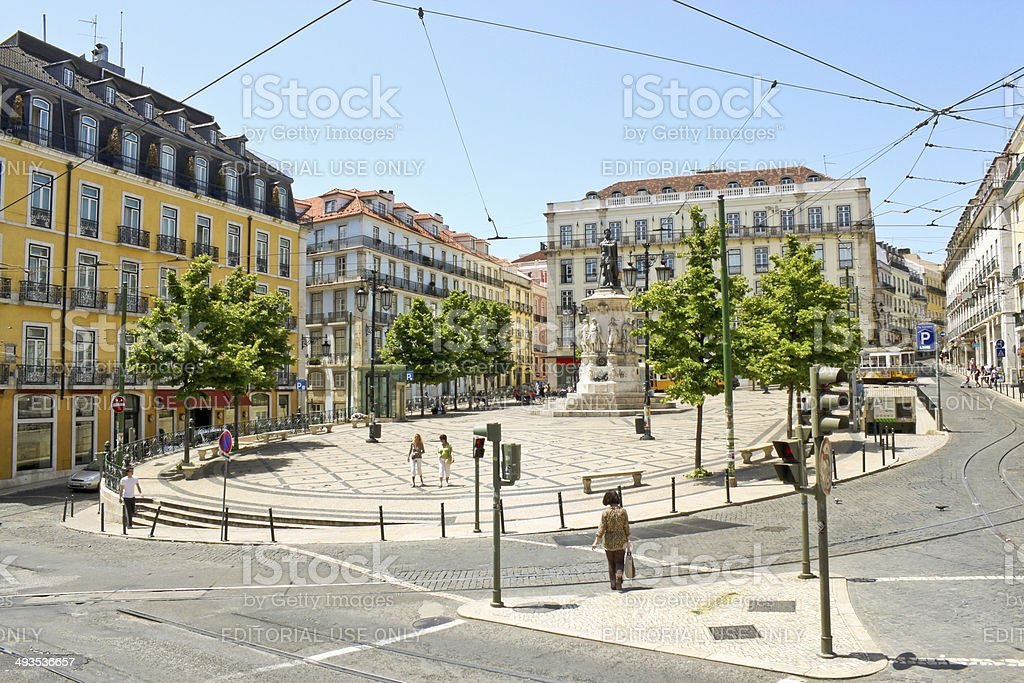 Square of Luis de Camoes in Lisbon, Portugal stock photo