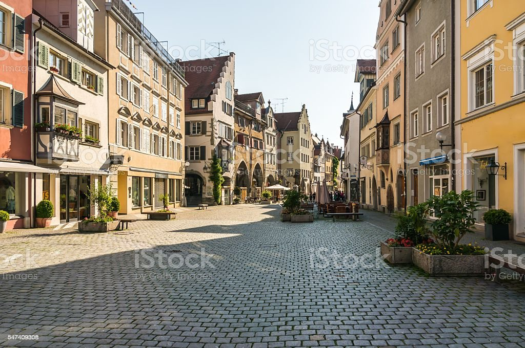 Square of old town Lindau in Germany stock photo