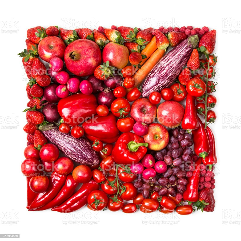 Square of red fruits and vegetables stock photo