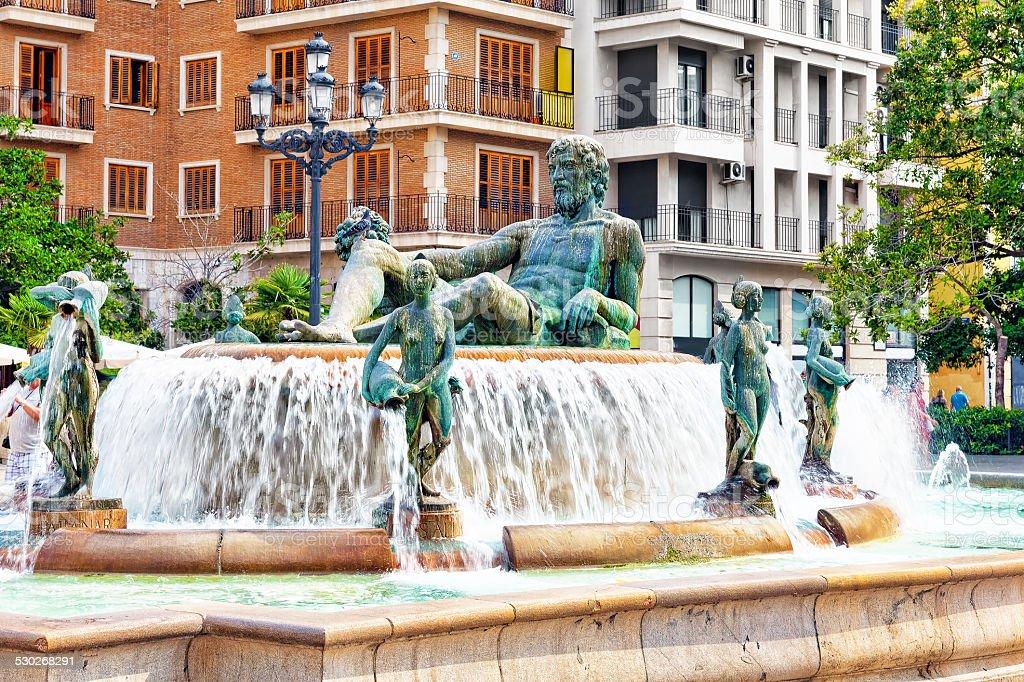 Square of Saint Mary's and fountain Rio Turia. stock photo