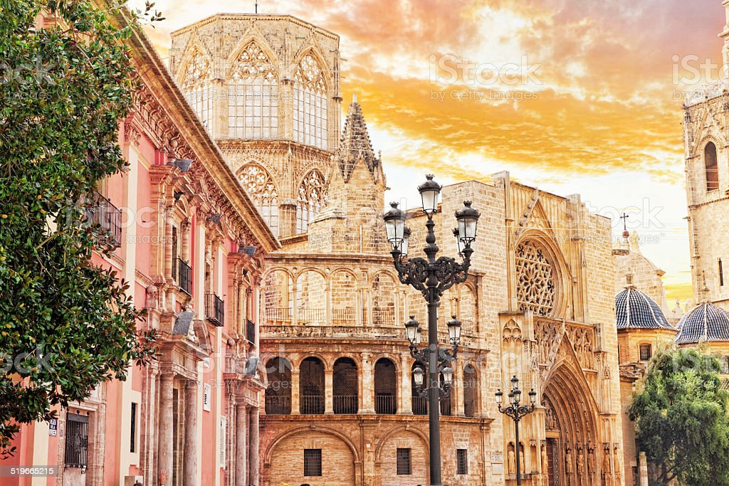 Square of Saint Mary's and Valencia  cathedral. stock photo