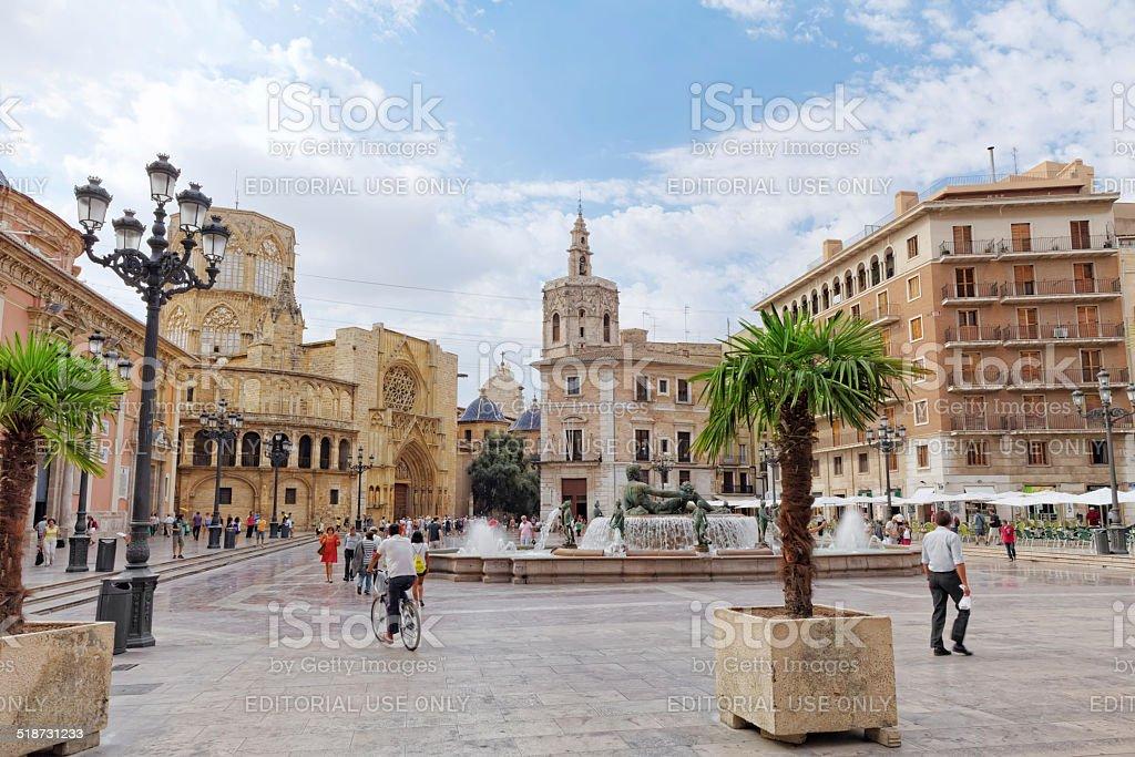 Square of Saint Mary's and Valencia stock photo